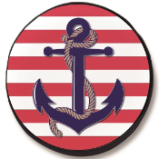 Anchor with Stripes Tire Cover - Black Vinyl