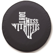 Don't Mess With Texas White Tire Cover - Black Vinyl