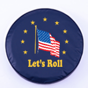 American Flag Let's Roll Navy Tire Cover By HBS