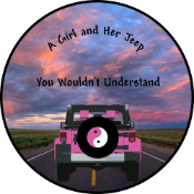 A Girl and Her Jeep Tire Cover on Black Vinyl - Color
