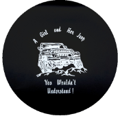 A Girl and Her Jeep Tire Cover on Black Vinyl - Black and White