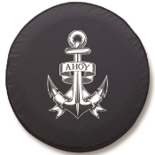 Boating and Yacht Anchor Ahoy Tire Cover on Black Vinyl