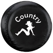 Country Girl Tire Cover with White Image on Black Vinyl