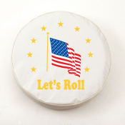 American Flag Lets Roll Tire Cover on White Vinyl