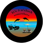 Black Jeep Its 5 O'clock Somewhere Tire Cover on Black Vinyl