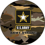 Army Strong Spare Tire Cover on Black Vinyl