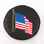 American Flag Tire Cover on Black Vinyl
