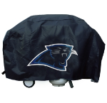 Carolina Grill Cover with Panthers Logo on Black Vinyl - Deluxe