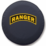 Army Ranger Tire Cover on Black Vinyl