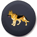Army Scout Dog Tire Cover on Black Vinyl