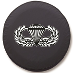 Paratrooper Non Combat Tire Cover on Black Vinyl