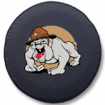 Marine Corp Tire Cover with Bulldog Logo on Black Vinyl