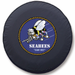 Navy Seabees Tire Cover - Black Vinyl