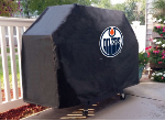 Edmonton Grill Cover with Oilers Logo on Black Vinyl