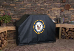 US Navy Grill Cover with Military Logo on Black Vinyl