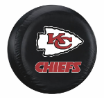 Kansas City Tire Cover with Chiefs Logo on Black Vinyl - Large