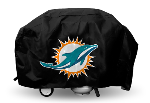 Miami Grill Cover with Dolphins Logo on Black Vinyl - Deluxe