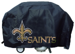 New Orleans Grill Cover with Saints Logo on Black Vinyl - Deluxe