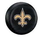 New Orleans Tire Cover with Saints Logo on Black Vinyl - Large