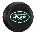 New York Tire Cover with Jets Logo on Black Vinyl - Standard