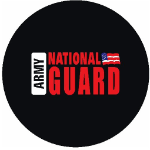 Army National Guard Tire Cover on Black Vinyl