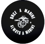 Once a Marine Tire Cover on Black Vinyl