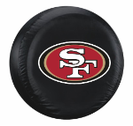 San Francisco Tire Cover with 49ers Logo on Black - Standard