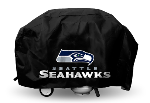 Seattle Grill Cover with Seahawks Logo on Black Vinyl - Deluxe