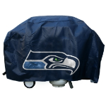 Seattle Grill Cover with Seahawks Logo on Blue Vinyl - Economy