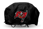 Tampa Bay Grill Cover with Buccaneers Logo on Black Vinyl - Deluxe