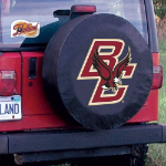 Boston College Tire Cover with Eagles Logo on Black Vinyl