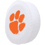 Clemson Tire Cover with Tigers Logo on White Vinyl