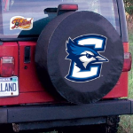 Creighton Tire Cover with Bluejays Logo on Black Vinyl