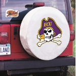 East Carolina Tire Cover with Pirates Logo on White Vinyl