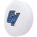 Grand Valley State Tire Cover with Lakers Logo on White Vinyl