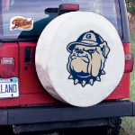 Georgetown Tire Cover with Hoyas Logo on White Vinyl