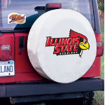 Illinois State Redbirds Tire Cover on White Vinyl