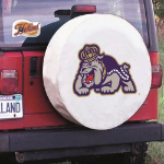 James Madison Tire Cover with Dukes Logo on White Vinyl