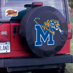 Memphis Tire Cover with Tigers Logo on Black Vinyl
