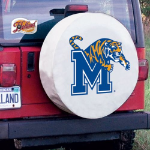 Memphis Tire Cover with Tigers Logo on White Vinyl