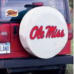 Ole Miss Tire Cover with Rebels Logo on White Vinyl