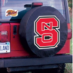 NC State Tire Cover with Wolfpack Logo on Black Vinyl