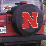 Nebraska Tire Cover with Cornhuskers Logo on Black Vinyl