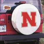 Nebraska Tire Cover with Cornhuskers Logo on White Vinyl