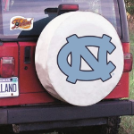 North Carolina Tire Cover with Tar Heels Logo on White Vinyl