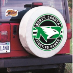North Dakota Tire Cover with ND Logo on White Vinyl