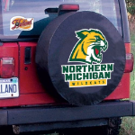 Northern Michigan Tire Cover with Wildcats Logo on Black Vinyl