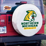 Northern Michigan Tire Cover with Wildcats Logo on White Vinyl