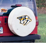 Nashville Tire Cover with Predators Logo on White Vinyl