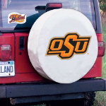 Oklahoma State Tire Cover with Cowboys Logo on White Vinyl